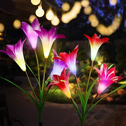 CCJK Solar Flower Lights, Solar Garden 8 Lily Flowers Stake Lights Outdoor,Solar ornaments, Mother's...