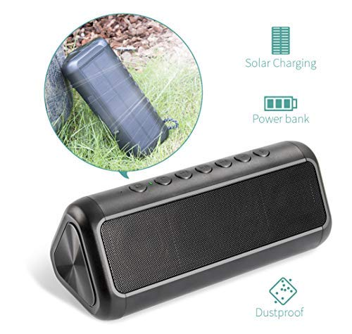 Solar Bluetooth Speaker with 5000mAh Protable Power Bank, Elzle Bluetooth Portable Speake 50+ Hours...