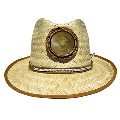Fedora Sun Hat Cooling Solar Powered with Fan Natural Straw Cool UPF 50+ Protection (Thin Band)