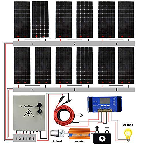 ECO LLC 2300W 24V Complete Off Grid Solar System Kit with 12X 195W Solar Panel and 6 String Combiner...