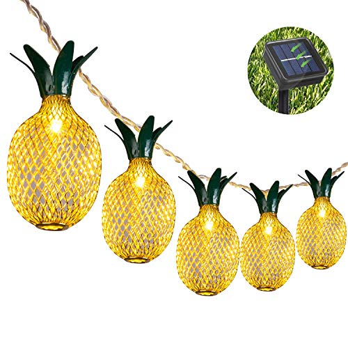 Weepong Pineapple Solar String Lights, 15ft 20 LEDs Fairy String Lights Waterproof Solar Powered...