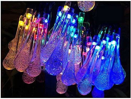 Lemontec Solar String Lights 20 Feet 30 LED Water Drop Solar Fairy Waterproof Lights for Garden,...