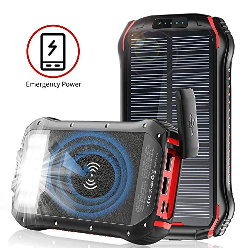 Solar Charger, 26800mAh Battery Solar Power Bank Wireless Portable Panel Charger with 4 Outputs &...