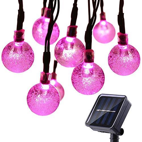 Qedertek Solar String Lights Outdoor,Bubble Globe Solar Lights 20foot 30 LED String Light Crystal...