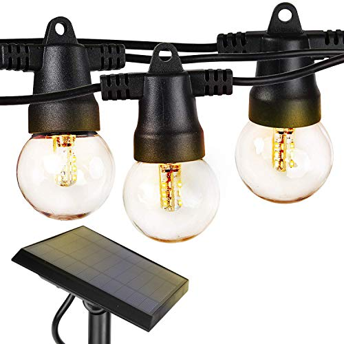 Brightech Ambience Pro - Waterproof Solar LED Outdoor String Lights – 1W Retro Edison Globe Bulbs...
