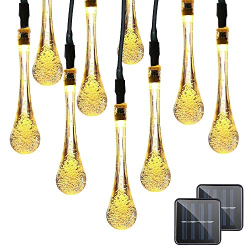 VMANOO Christmas Decorative Solar Powered Lights, 30 LED 19.7ft 8 Modes Water Drop Fairy String...