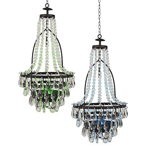 Diva At Home Set of 2 Transparent Colored Solar Powered LED Lights Chandelier 20.5'