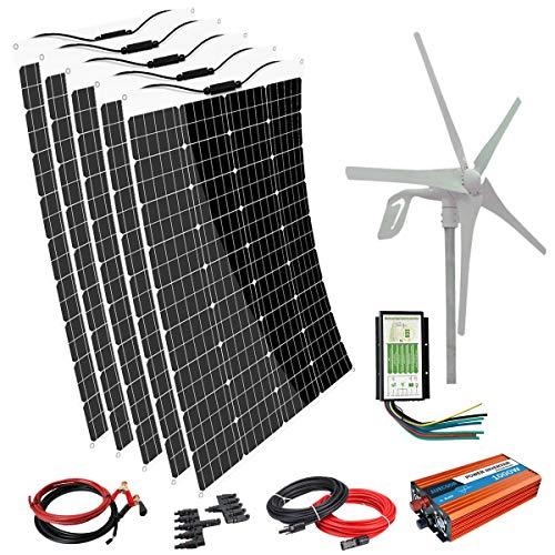 AUECOOR 1000 Watts Wind & Solar Hybrid Kit for Home Off Grid System : 5 x 120W Flexible Solar...