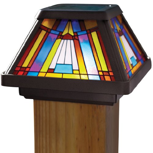 Moonrays Post Cap Lamp In Stained Glass Design (6x Brighter Solar Powered LED) - 91241
