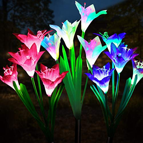Wohome Outdoor Solar Garden Stake Lights,3 Pack Solar Powered Lights with 12 Lily Flower,...