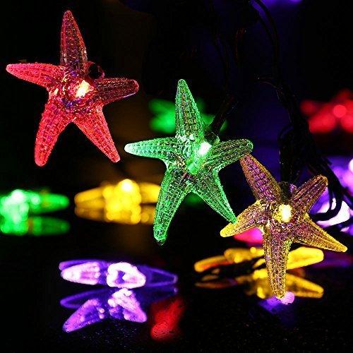 Starfish Solar String Lights,20ft 30 LED Halloween Christmas LED Fairy String Lights for...