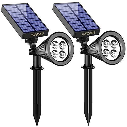 URPOWER Solar Lights, 2-in-1 Waterproof 4 LED Solar Spotlight Adjustable Wall Light Landscape Light...