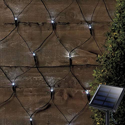 Solar Led Net Lights,9.8ft x 6.6ft 200 LEDs Net Mesh Tree-wrap Lights,Dark Green Cable,8 Modes...