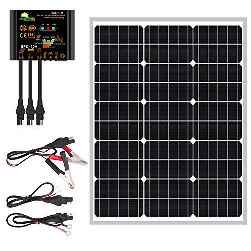 SUNER POWER 50 Watts Mono Crystalline 12V Solar Panel Kits - Waterproof 50W Solar Panel + Upgraded...
