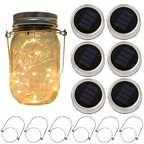 6-Pack Solar-powered Mason Jar Lights 20 LEDs (6 Hanger Included / No Jar),Warm White Glass...