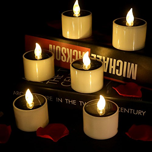 Horeset 6pcs Warm White Solar Power Flickering Electronic LED Flameless Candle,Battery Operated...