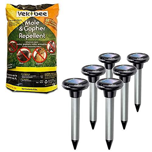 Vekibee Mole Repellent Bundle, Vekibee Castor Oil Granules Mole Chaser, Pack of 6 Sonic Gopher...