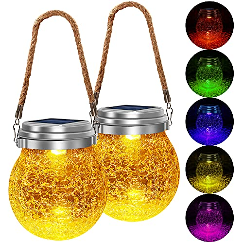 TonyEst Outdoor Solar Lantern,【2 Optional Modes】LED Amber Warm Hanging Solar Lanterns Waterproof...