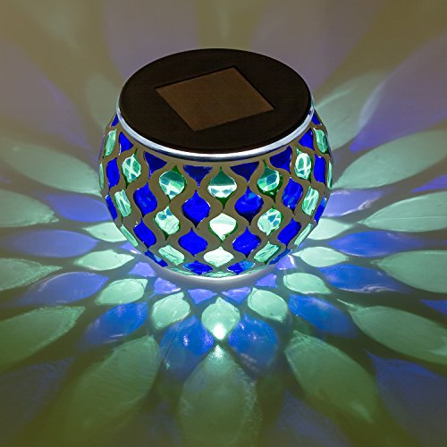 Solar Powered Mosaic Glass LED Outdoor Decor Decorative Table Light (Blue and Green)