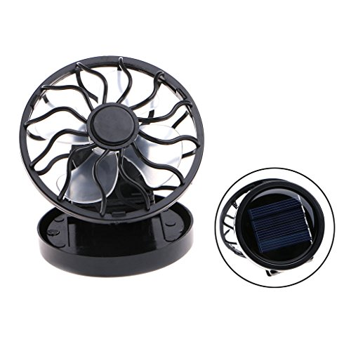Itemap Mini Portable Clip-On Solar Panel Powered Cooling Fan for Travel Camping Fishing (Round)