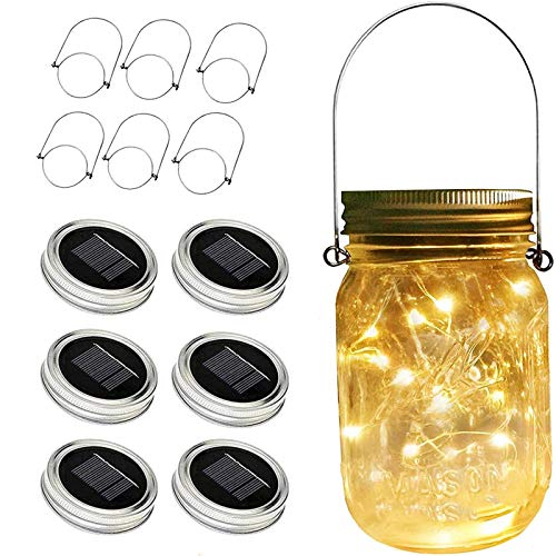ZNYCYE Solar Mason Jar Lights, 6 Pack 30 Led String Fairy Star Firefly Jar Lids Lights, Jars Not...