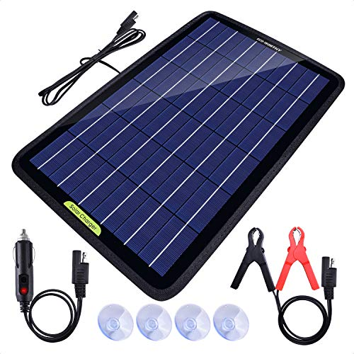 ECO-WORTHY 12 Volt 10 Watt Solar Car Battery Charger & Maintainer, Solar Panel Trickle Charger,...