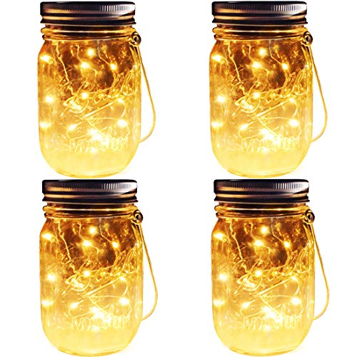 Solar Mason Jar Lights, 4 Pack 30 Leds Waterproof Fairy Firefly String Lights Build-in Glass Mason...