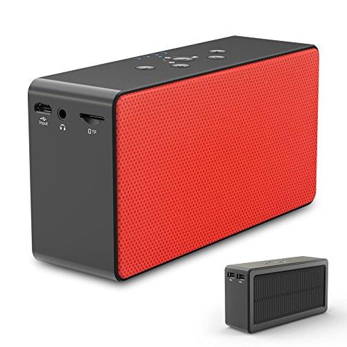 Solar Bluetooth Speaker/Power Bank, ZeroLemon SolarSound 72-Hour Playtime Solar-Powered 10W Portable...