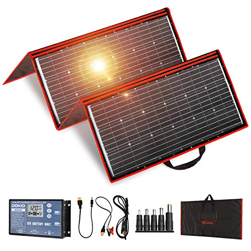 DOKIO 300W 18V Portable Solar Panel Kit (41x21inch) Folding Solar Charger with 2 USB Outputs for...