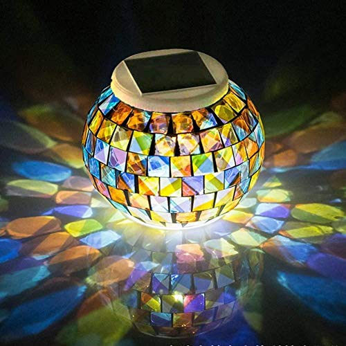 Color Changing Mosaic Solar Light Weatherproof Crystal Glass Globe Ball Light for for Garden Patio...