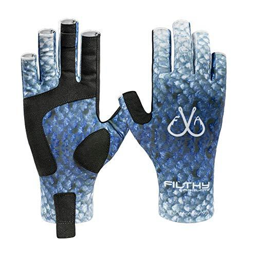 Filthy Anglers Fingerless Fishing Gloves Lightweight UV Sun Protection UPF 50+ Sun Gloves Men Women...