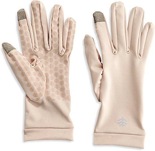Coolibar UPF 50+ Men's Women's Gannett UV Gloves - Sun Protective (Small- Beige)