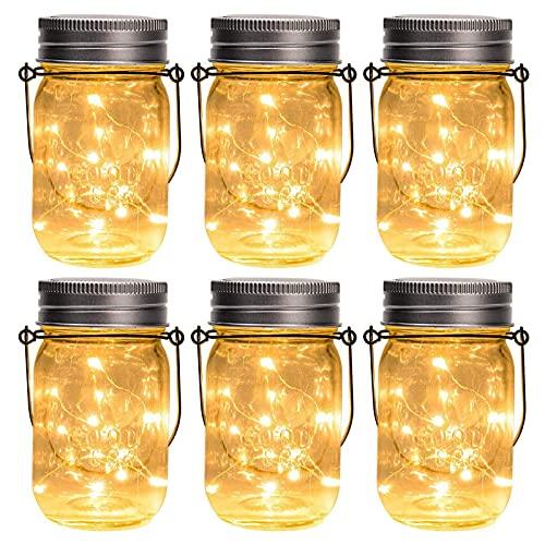 GIGALUMI Hanging Solar Mason Jar Lights, 6 Pack 30 Led String Fairy lights Solar Lanterns Table...
