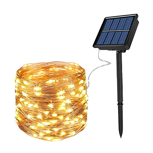 Solar String Lights, Ankway 200 LED Fairy Lights 8 Modes 3-Strands Copper Wire 72 ft Waterproof IP65...