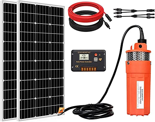 ECO-WORTHY Solar Water Pump Kit System, 2pcs 100W Solar Panel + 12V Submersible Well Pump + 20A...