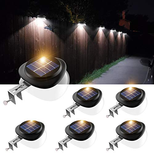 Solar Gutter Lights, Newest 9 LED Outdoor Fence Light Waterproof Wall Lamps for Garden Patio...