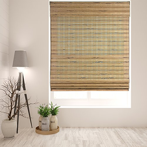 Arlo Blinds Cordless Tuscan Bamboo Roman Shades Blinds - Size: 32' W x 60' H, Cordless Lift System...