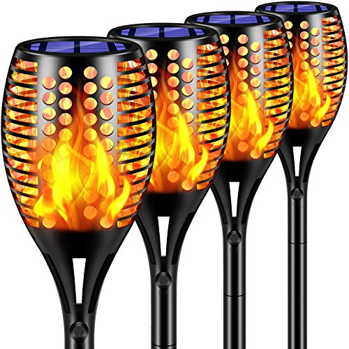 TomCare Solar Lights Upgraded, 43' Waterproof Flickering Flames 96 LED Torches Lights Outdoor Solar...