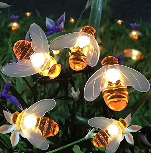Semilits Solar String Lights 20LED Outdoor Waterproof Simulation Honey Bees Decor for Garden Xmas...