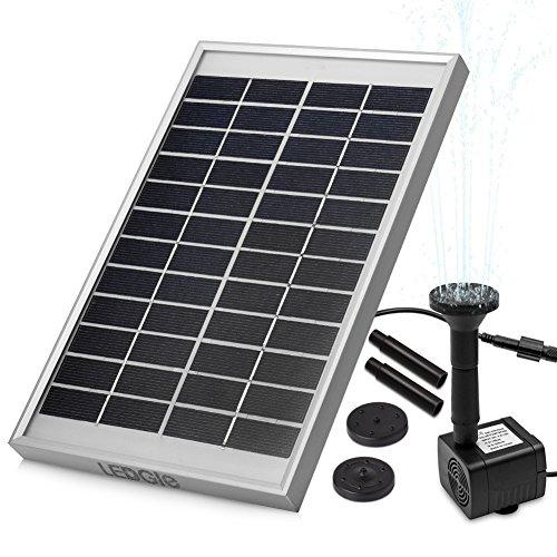LEDGLE 5W Solar Fountain Pump, Solar Water Pump, Solar Powered Fountain Pump,Outdoor Bird Bath...