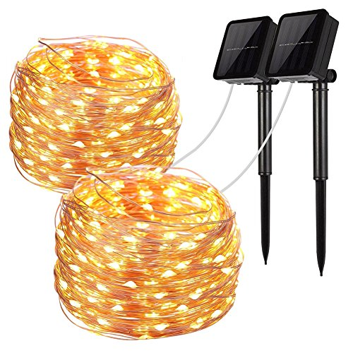LiyuanQ Solar String Lights, 2 Pack 100 LED Solar Fairy Lights 33 Feet 8 Modes Copper Wire Lights...