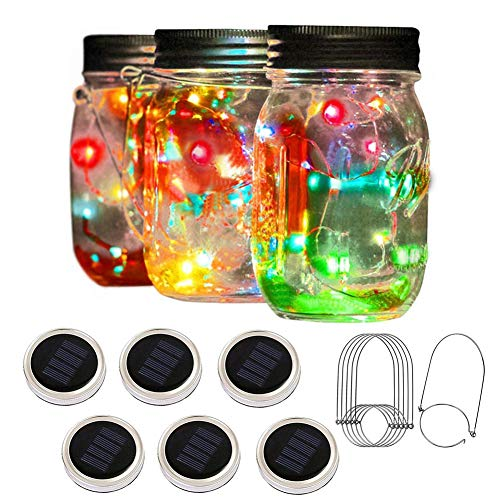 PAPRMA 6 Pack Solar Mason Jar Lights, 20 LED Jar Lid Fairy String Lights with 6 Hangers, Decorations...