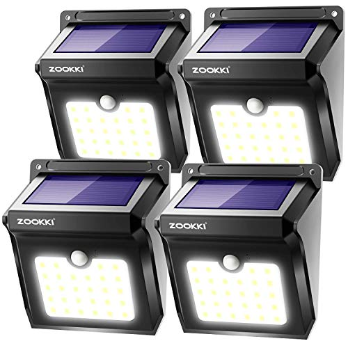 ZOOKKI Solar Lights Outdoor, 28 LED Wireless Motion Sensor Lights, IP65 Waterproof Wall Light...