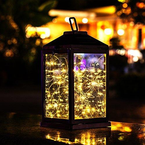 Solar Lantern Lights Metal Sunwind with 30 Warm White LEDs Fairy String Lights Outdoor Decorative...
