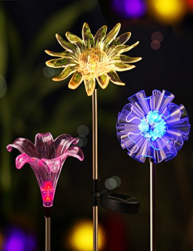 Bright Zeal Solar Stake Lights, Life-Size Figurines LED, [Set of 3] Dandelion & Lily &...