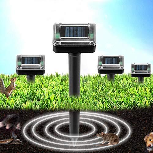 4 Pack Solar Powered Mole Repellent, Ultrasonic Pest Repeller, Gopher, Mole, Snake, Mouse, Rodent...