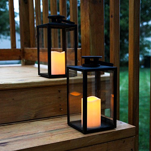 Outdoor Flameless Black Candle Lanterns, Glass Paneled, 11' Height, Warm White LEDs, Remote &...
