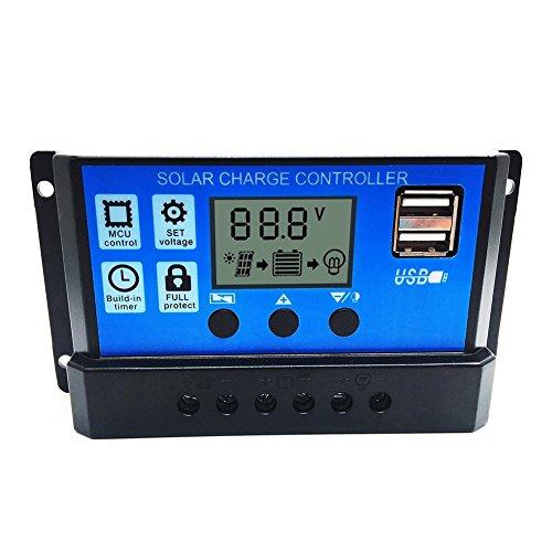 Allrise Solar Charge Controller,Solar Panel Battery Intelligent Regulator with Dual USB Port Display...