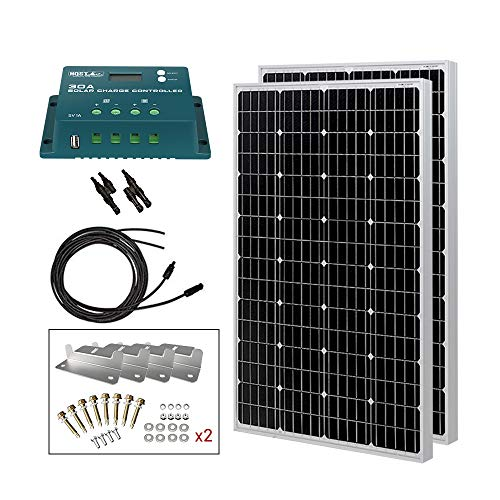 HQST 200 Watt 12 Volt Monocrystalline Solar Panel Kit with 30A PWM LCD Solar Charge Controller, 20Ft...