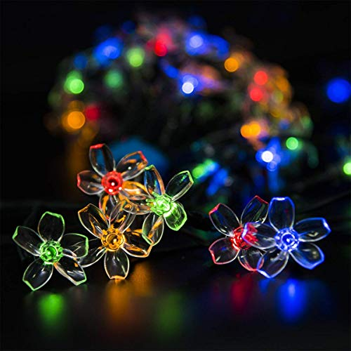 GIGALUMI 2 Pack Solar Strings Lights, Solar Fairy Lights 23 Feet 50 LED Flower Lights, Solar...